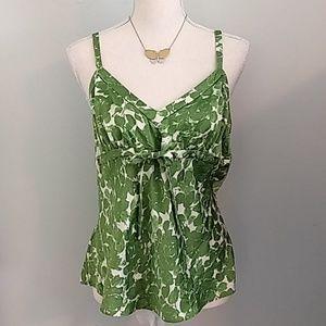 J. Crew 100% silk tank. Green floral. Size L